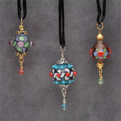 bead pendants marble glass art by Marco Jerman